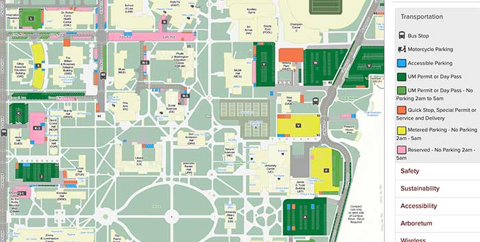 Screenshot of interactive campus map at University of Montana