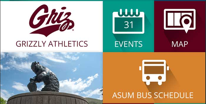 Screenshot of University of Montana mobile app